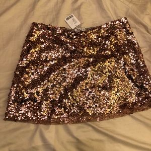 Urban outfitters rose gold sequin mini skirt